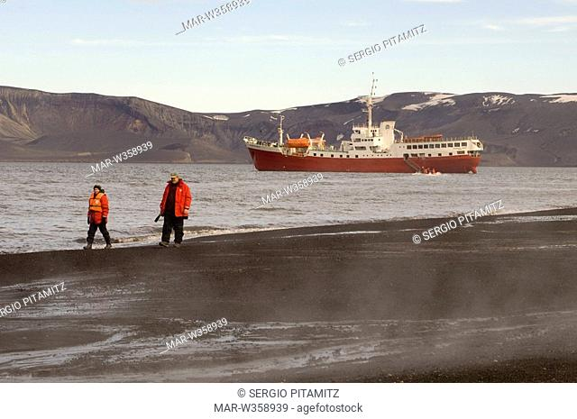 Antarctica, South Shetlands Islands, Deception Island, Antarctic Drean ship. MR