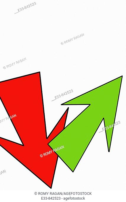 Conceputal image of two arrows: red arrow pointing down and green arrow pointing up