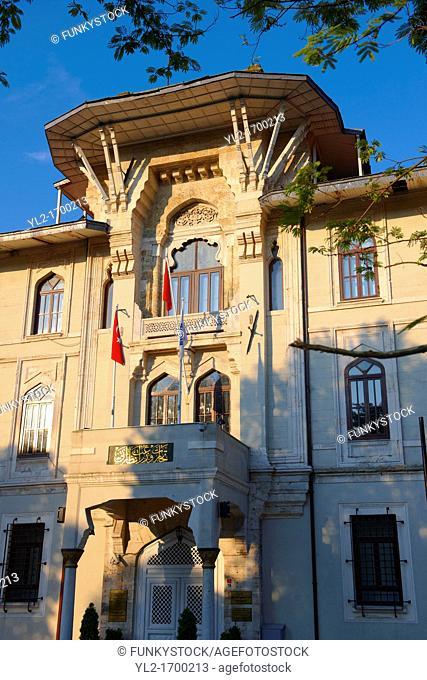 Ottoman architecture of the entrance of the Mamara University building, Sultanahmet Meydani Sultan Ahmet Square, Istanbul Turkey