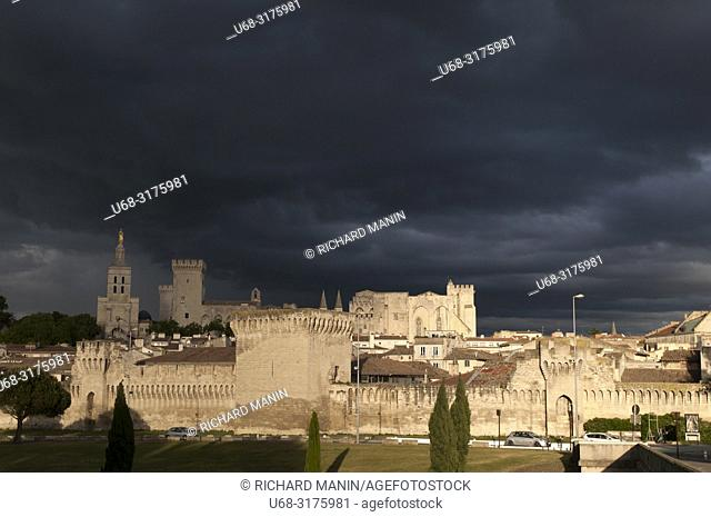 France, Vaucluse, Avignon, Doms Cathedral (12th century) and the Palace of the Popes (XIV) listed as World Heritage by UNESCO