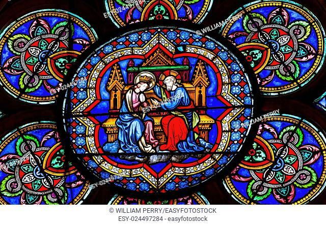 Virgin Mary Jesus Christ Stained Glass Notre Dame Cathedral Paris France. Notre Dame was built between 1163 and 1250AD