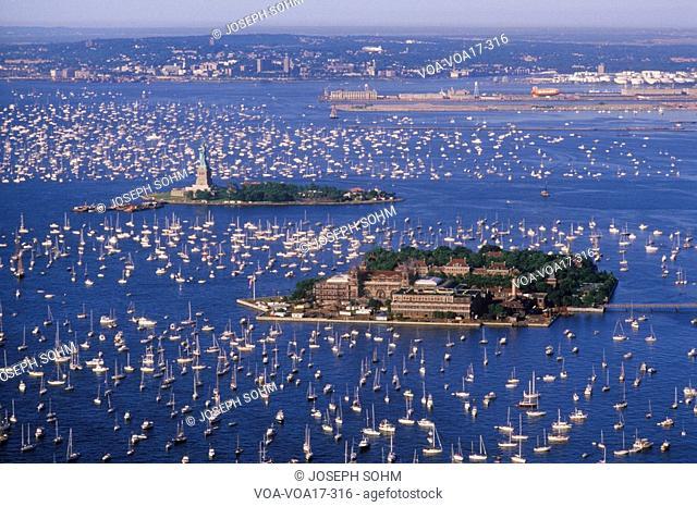Flotilla in New York Harbor celebrating the Fourth of July, New York