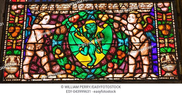 Angels Green Lion Stained Glass Chapel Santa Maria Novella Church Florence Italy. First Church in Florence founded 1357. Lion Symbol of Medici