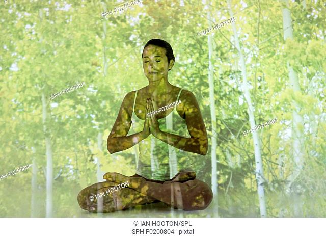 Woman doing yoga with tree projection