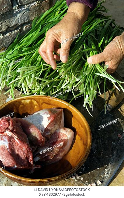 Making traditional dim sum Chinese dumplings  Preparing meat and spring onions outside farmhouse kitchen Shandong Province China