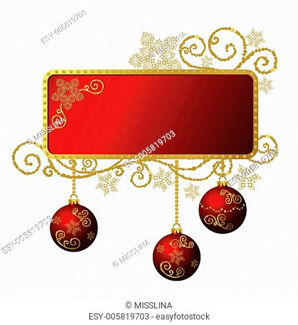 Vector red & gold Christmas frame isolated