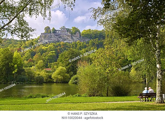 Karlsburg castle at banks of the Main River, Karlstadt, Main Spessart District, Lower Franconia, Germany