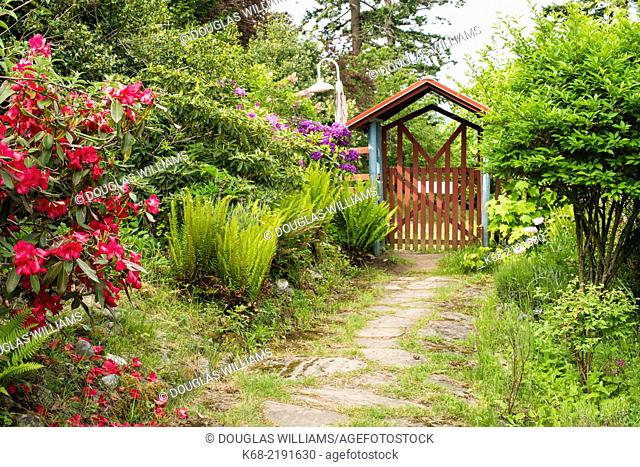 A path in the garden at Breezy Bay Bed and Breakfast, Saturna Island, BC, Gulf Islands, Canada