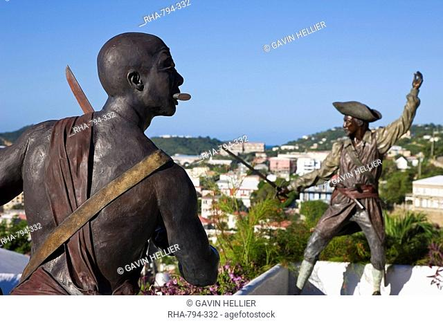 Sculpture in Blackbeard's Castle, one of four National Historic sites in the US Virgin Islands, with Charlotte Amalie in the background, St. Thomas, U