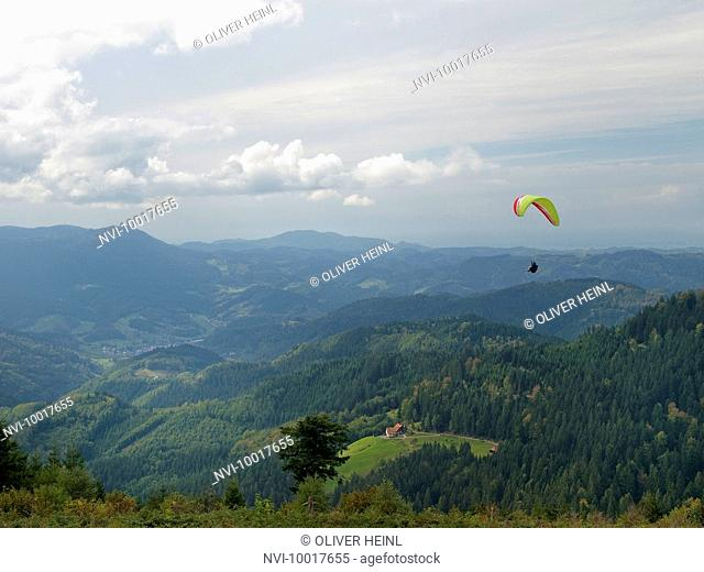 Kniebis with paraglider, Black Forest, Baden-Wuerttemberg, Germany, Europe