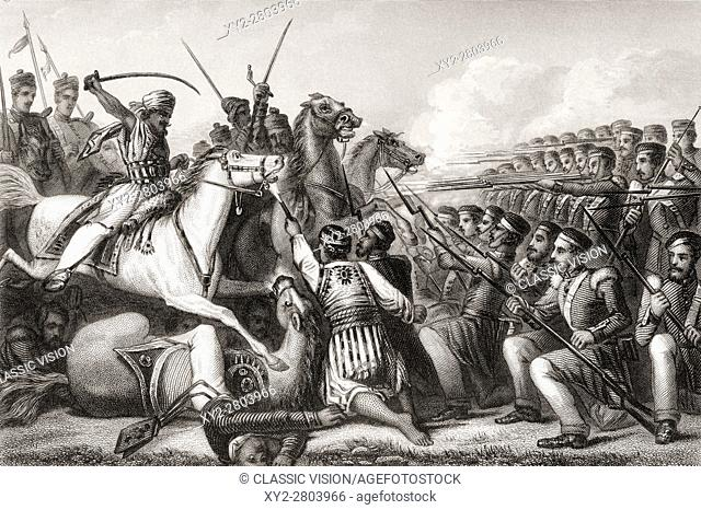 Mutineer cavalry attacking an infantry square at the Battle of Cawnpore, 1857. From The History of the Indian Mutiny published 1858
