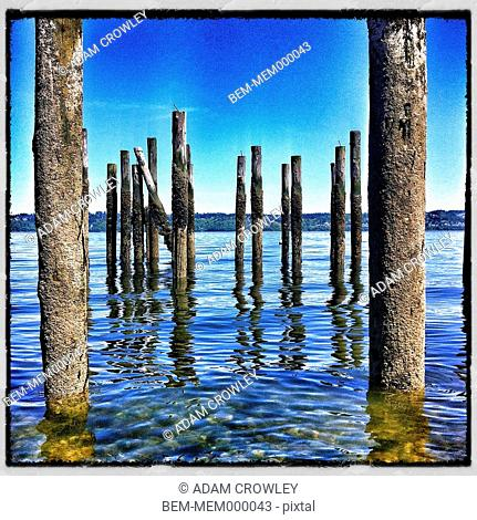 Weathered pilings in lake, Clinton, Washington, United States