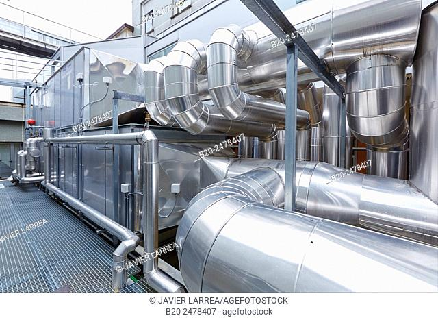 Installation of air conditioning, Ventilation air filters of the operating rooms, Hospital Donostia, San Sebastian, Gipuzkoa, Basque Country, Spain
