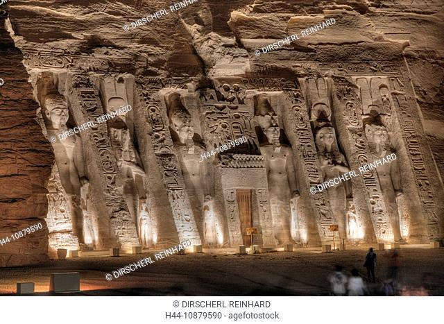 Iluminated Small Temple of Nefertari, Abu Simbel, Egypt