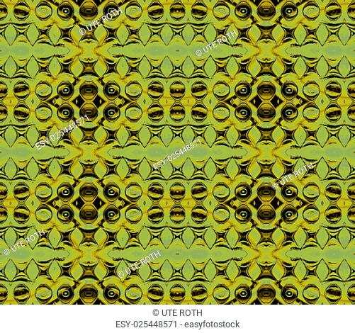 Geometric background, abstract ornate metal sheet, seamless circles and ellipse pattern in pale green and brown, shimmering golden
