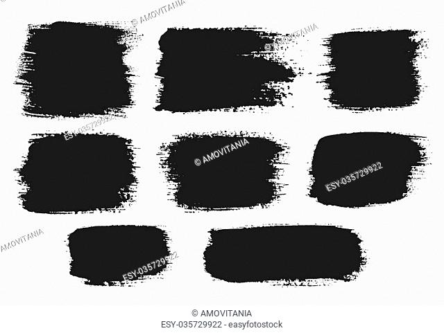 Vector grunge brush strokes backgrounds set, rectangle and square, for text. Distress texture, isolated, black on white. Used as banners, labels, badges