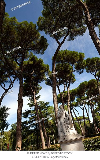 Statue of Lord Byron in the Villa Borghese Gardens in Rome and Stone Pine Trees