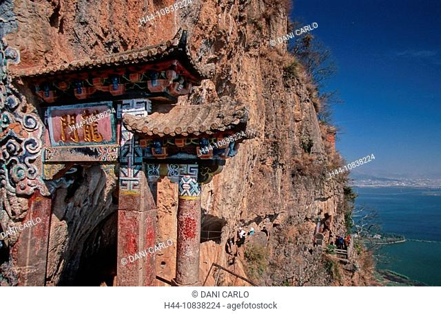 China, Asia, Dragon Gate, Temple, Western Hills, Kunming, Yunnan Province, mountain trail, mountains, rock, culture, p