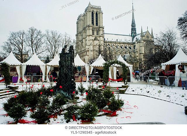 Paris, France, Notre Dame Cathedral, Christmas Decorations, Christmas Market