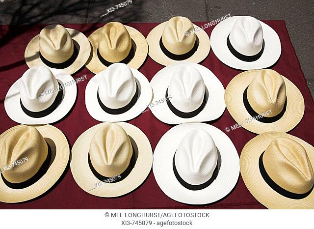 Twelve Panama hats for sale, Mexico City, Mexico