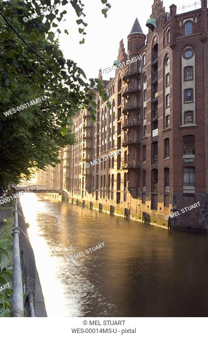 Germany, Hamburg, Speicherstadt, Canal scene