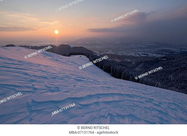 morning mood on the Zwiesel with a view to the Schnaiteralm, close Bad Tölz, Bavarian Alps, Bavaria, Germany
