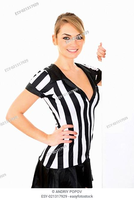 Young Female Referee With Blank Billboard Over White Background