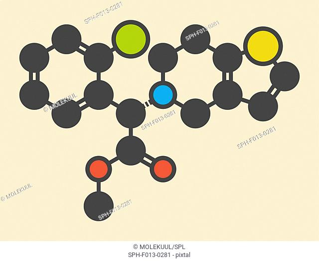 Clopidogrel antiplatelet agent molecule. Inhibits blood clotting Stylized skeletal formula (chemical structure). Atoms are shown as color-coded circles:...