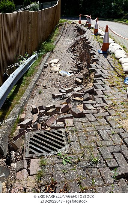 road subsidence. Wiltshire