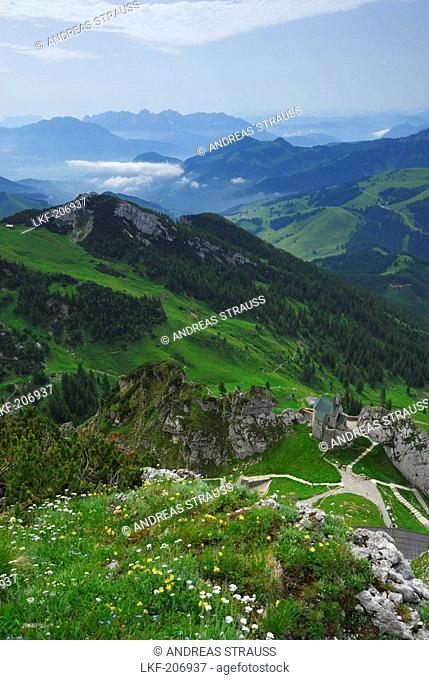 view from Wendelstein to chapell on Wendelstein and Tagweidkopf, Bruennstein and Kaiser range, Bavarian foothills, Bavarian range, Upper Bavaria, Bavaria