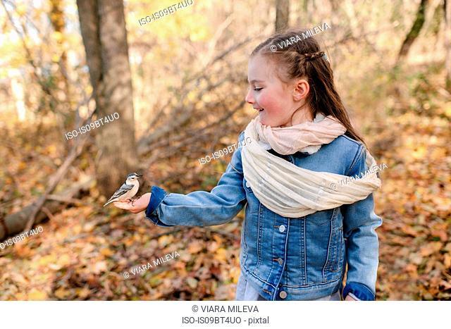 Little girl holding bird on palm in forest