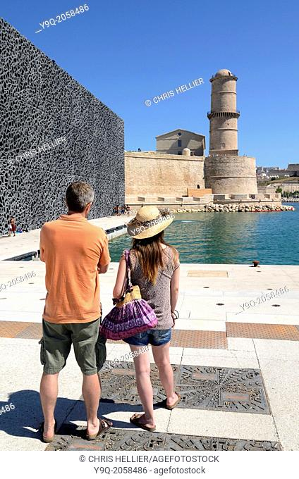 Tourists Outside MUCEM Museum and Fort Saint Jean Marseille France
