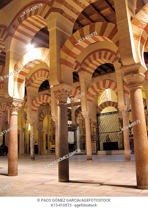 Interior of the Mosque of Cordoba. Andalusia. Spain