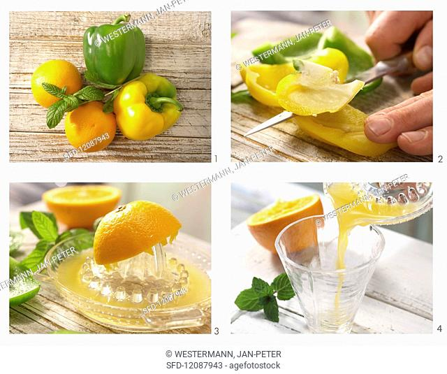 How to prepare a paprika cocktail with orange juice and mint