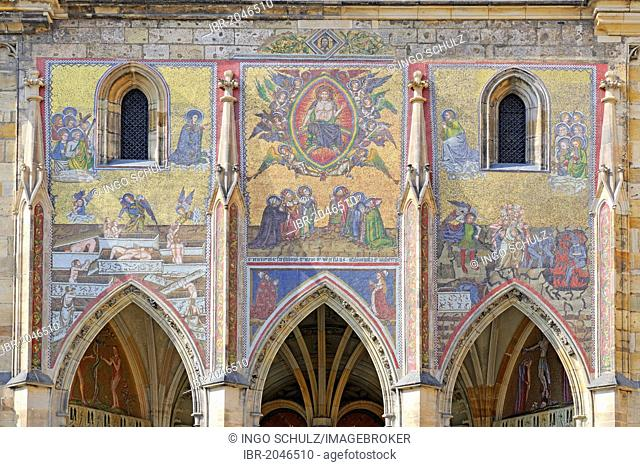 Murals on the south tower of St. Vitus Cathedral, Prague Castle, Hradcany, Prague, Bohemia, Czech Republic, Europe