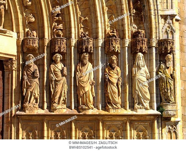 Castello d'Empuries, apostle statues at a church, Spain, Costa Brava