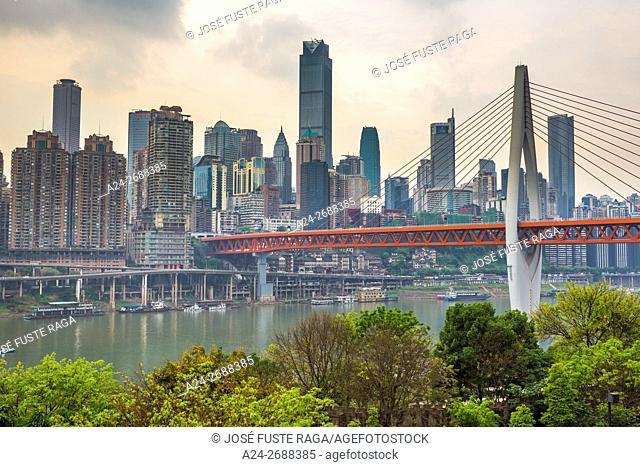 China, Chongqin City,Jiefanbei District Skyline, Qiansimen bridge over Jialing River