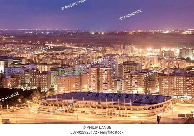 City of Cartagena at night, Murcia, Spain