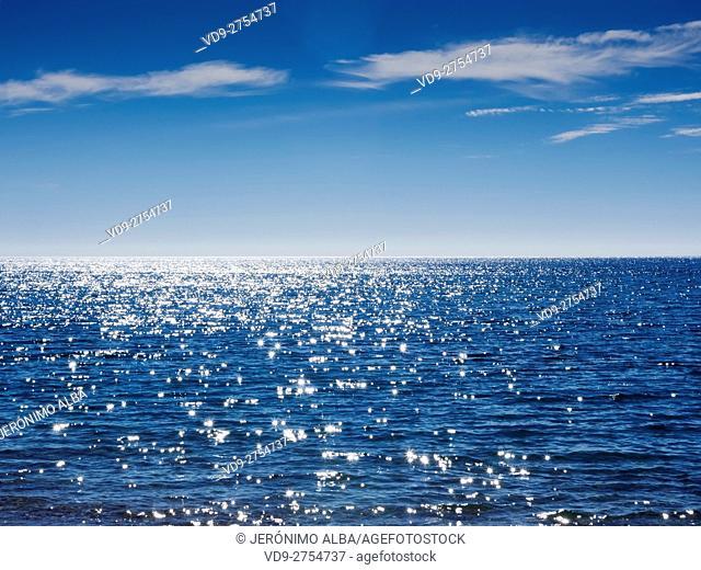 Mediterranean Sea, blue sky. Andalusia, Spain Europe