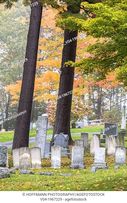 Graves in the historic cemetry in Peacham, Vermont, USA
