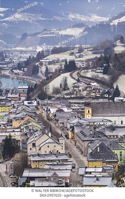Austria, Salzburgerland, Werfen, elevated town view from Schloss Hohenwerfen Castle, winter