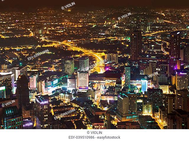 View to Kuala Lumpur (Malaysia) at night - architecture background