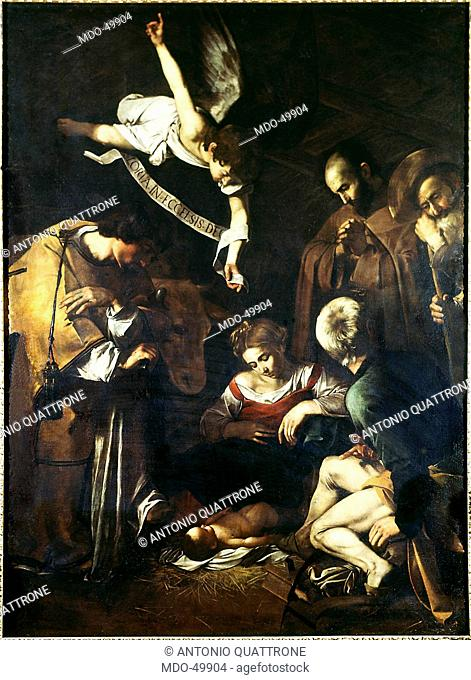 Nativity with St. Francis and St. Lawrence (Natività con i santi Lorenzo e Francesco d'Assisi), by Michelangelo Merisi known as Caravaggio, 1600, 17th Century