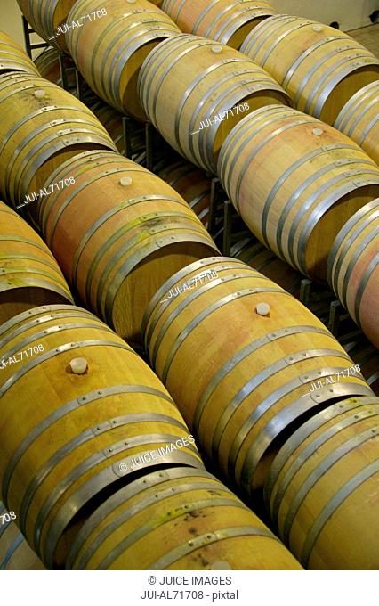 Barrels of wine in a wine cellar, elevated view, Paarl, Western Cape, South Africa