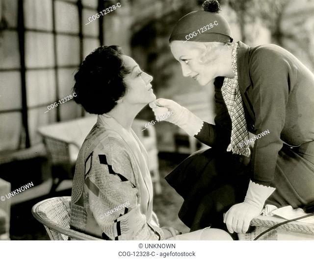 Actresses Joan Crawford and Pauline Frederick in a scene from the film The Modern Age (1931)