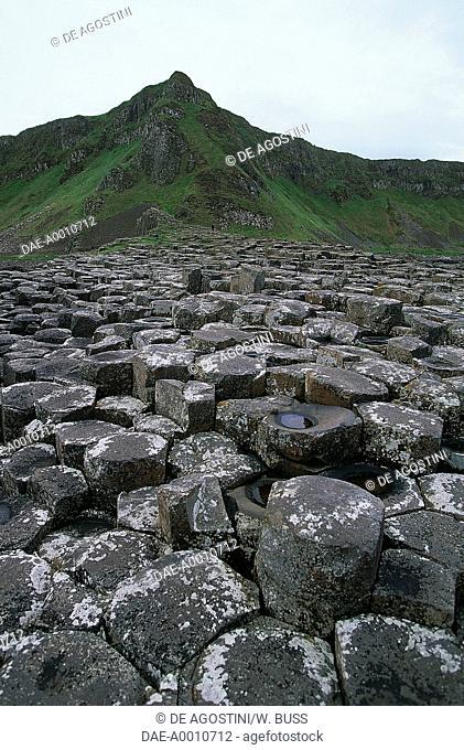 The Giant's Causeway, an area of interlocking basalt columns (UNESCO World Heritage List, 1986) on the coast near Bushmills, Northern Ireland, United Kingdom
