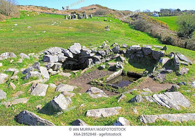 Kitchen hut site in foreground at Drombeg stone circle, County Cork, Ireland, Irish Republic