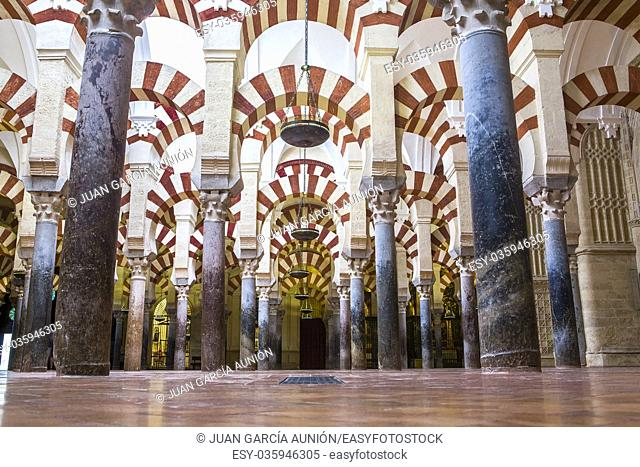 Hypostyle hall at Medieval Islamic mosque of Cordoba, Andalusia, Spain. Ground view