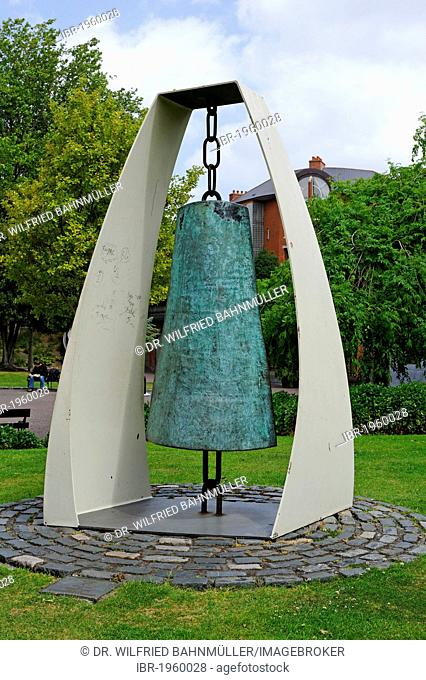 Peace bell in the park of St. Patrick Cathedral, Dublin, Republic of Ireland, Europe