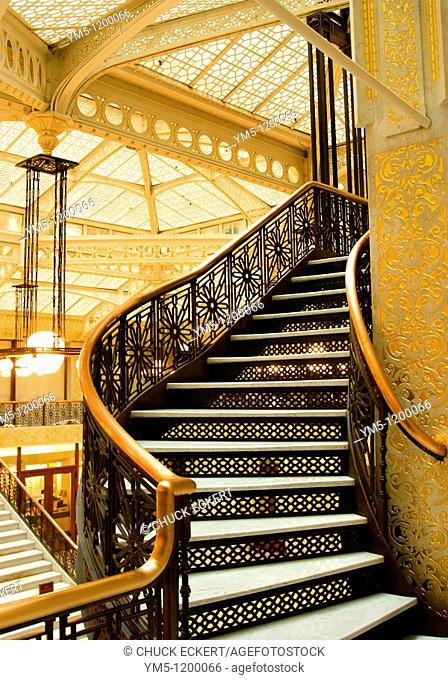 Interior Stairwell of The 'Rookery' Building, Chicago, Illinois, USA. Designed,built and once occupied by the 1893 Chicago Worlds Fair architects Burnham & Root